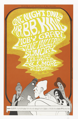Poster of B.B. Kings first concert at the Fillmore in San Fransisco in 1969. Photo Credit - Smithsonian Institute
